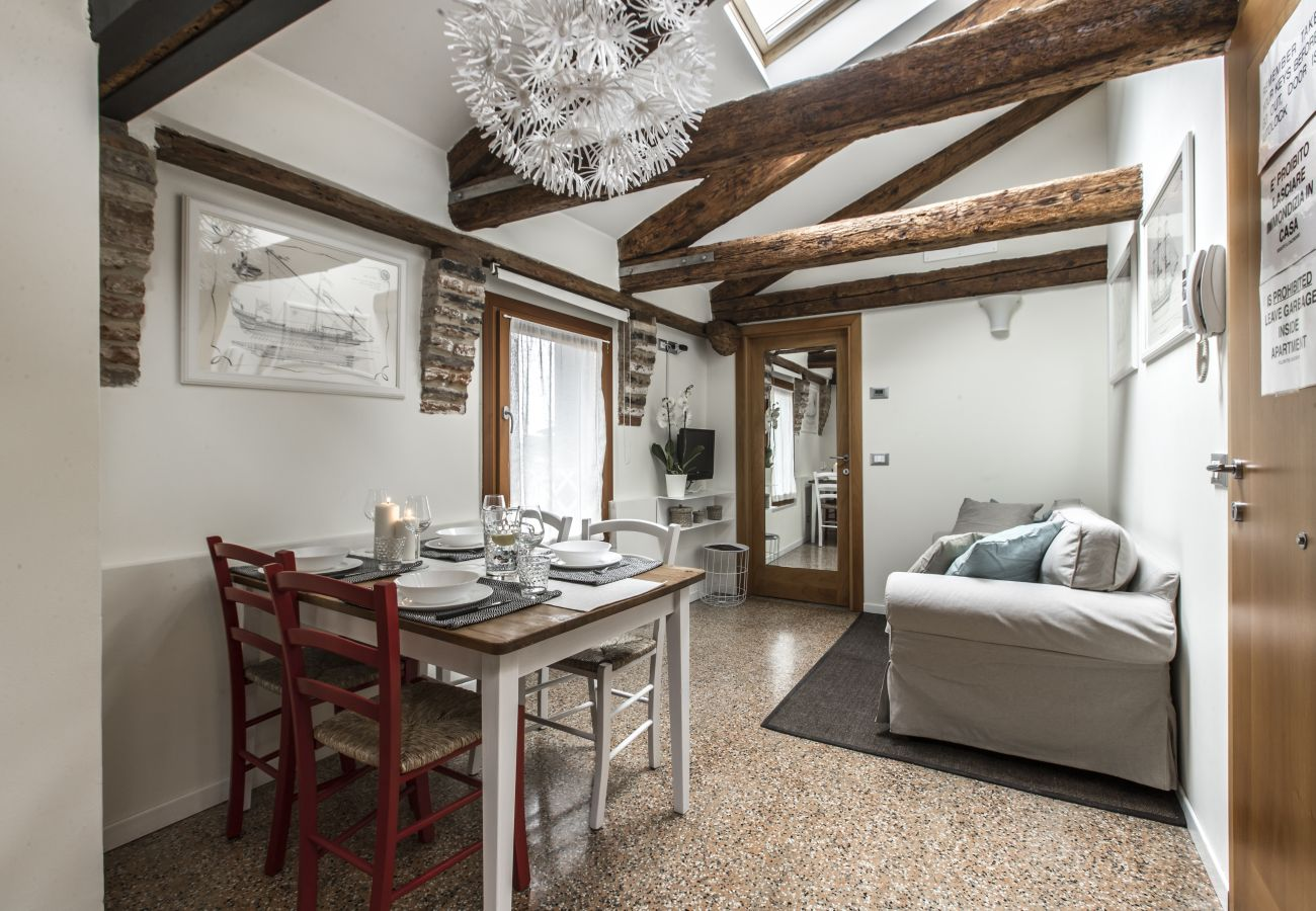 Spacious open space with exposed beams