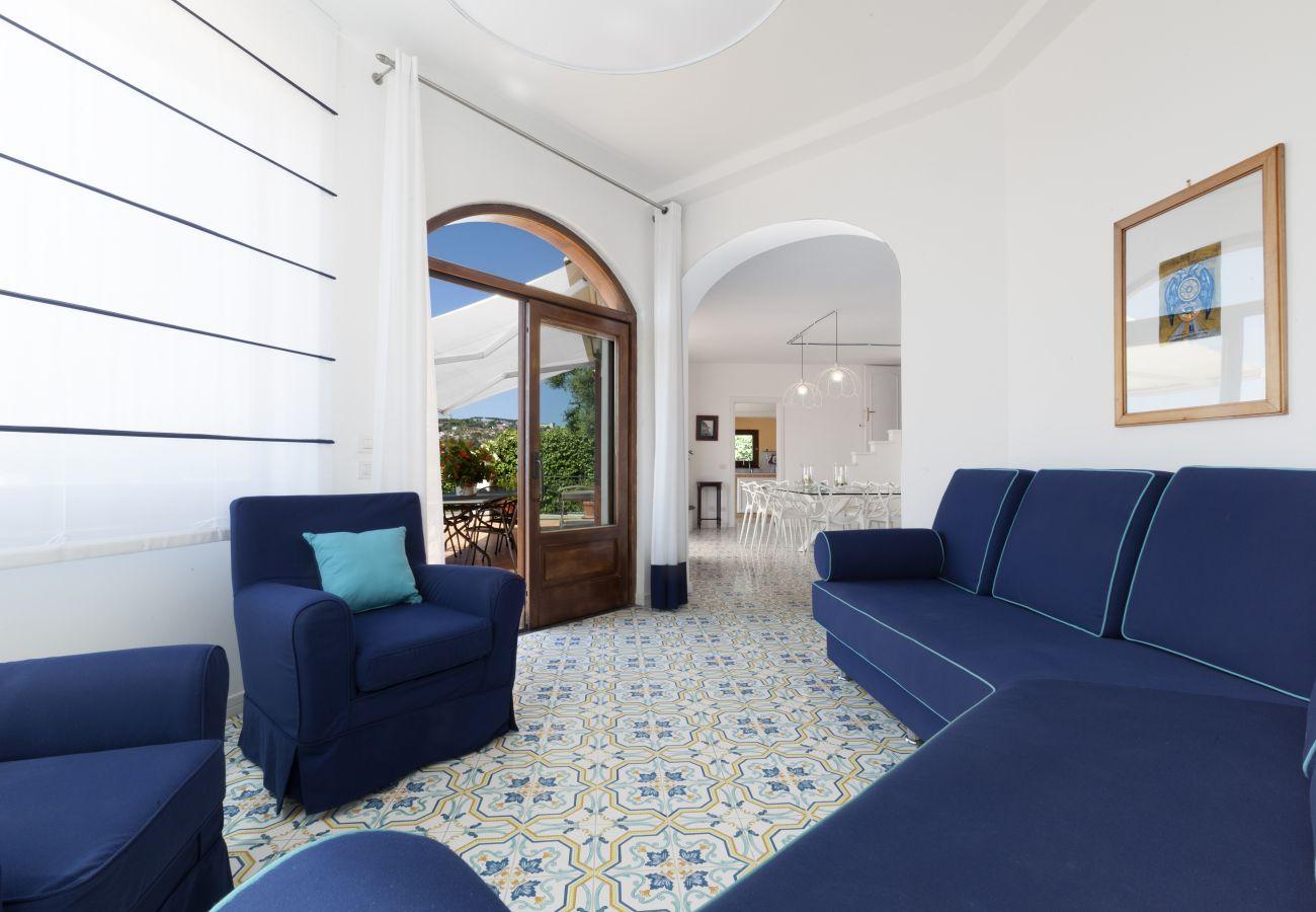 living area with access on the terrace, villa chez piè, vacation villa massa lubrense, italy