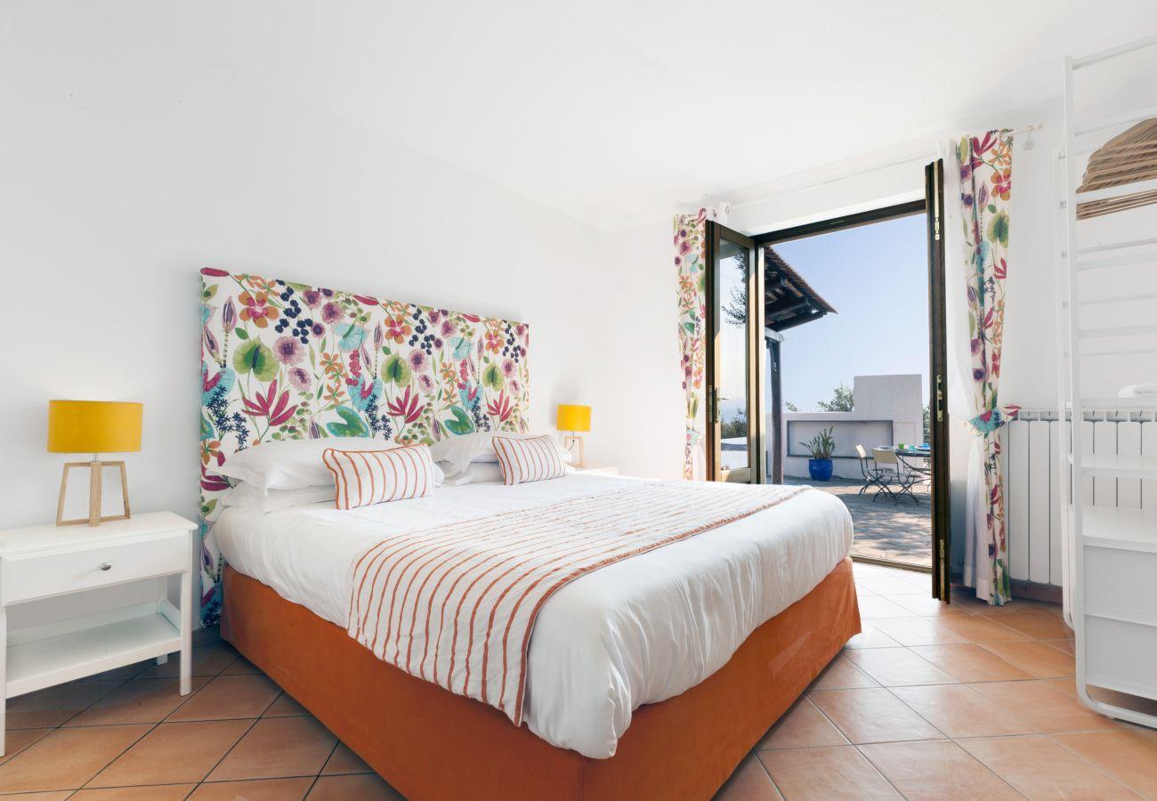 double bedroom with balcony, villa chez piè, vacation villa massa lubrense, italy