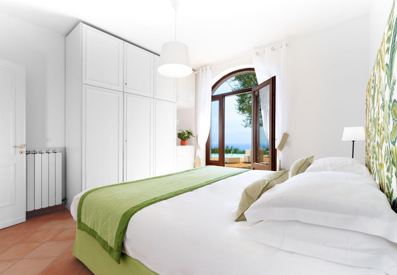double bedroom, green, with pool terrace access, villa chez piè, vacation villa massa lubrense, italy