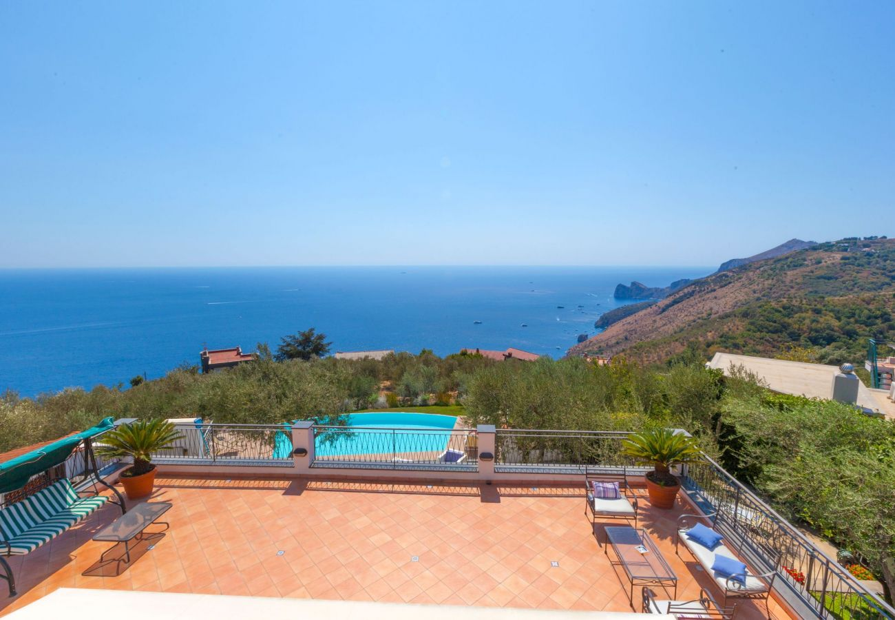 stunning panoramic view on the coast, villa chez piè, vacation villa massa lubrense, italy