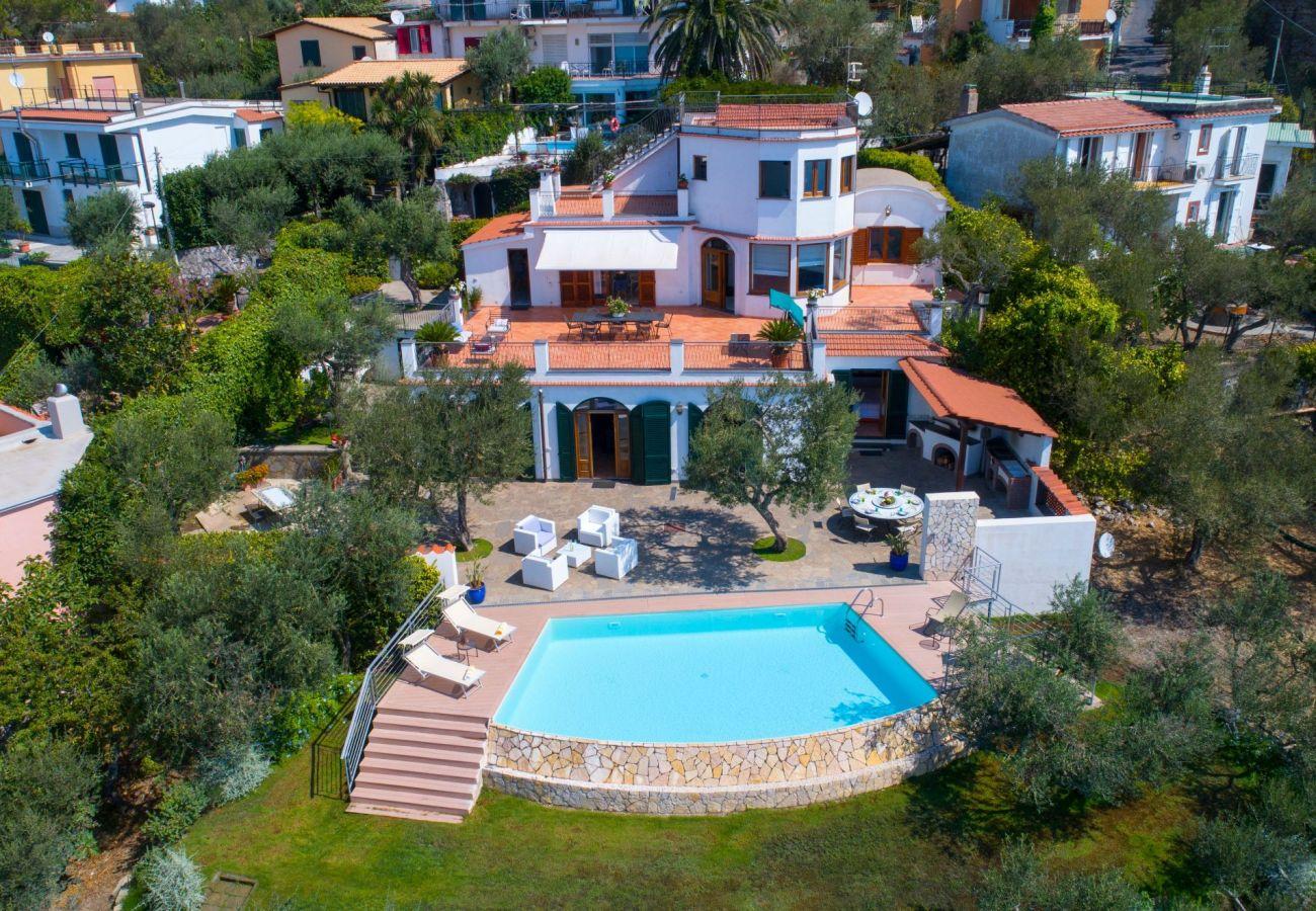 drone view, villa chez piè, vacation villa with infinity pool, sorrento, italy