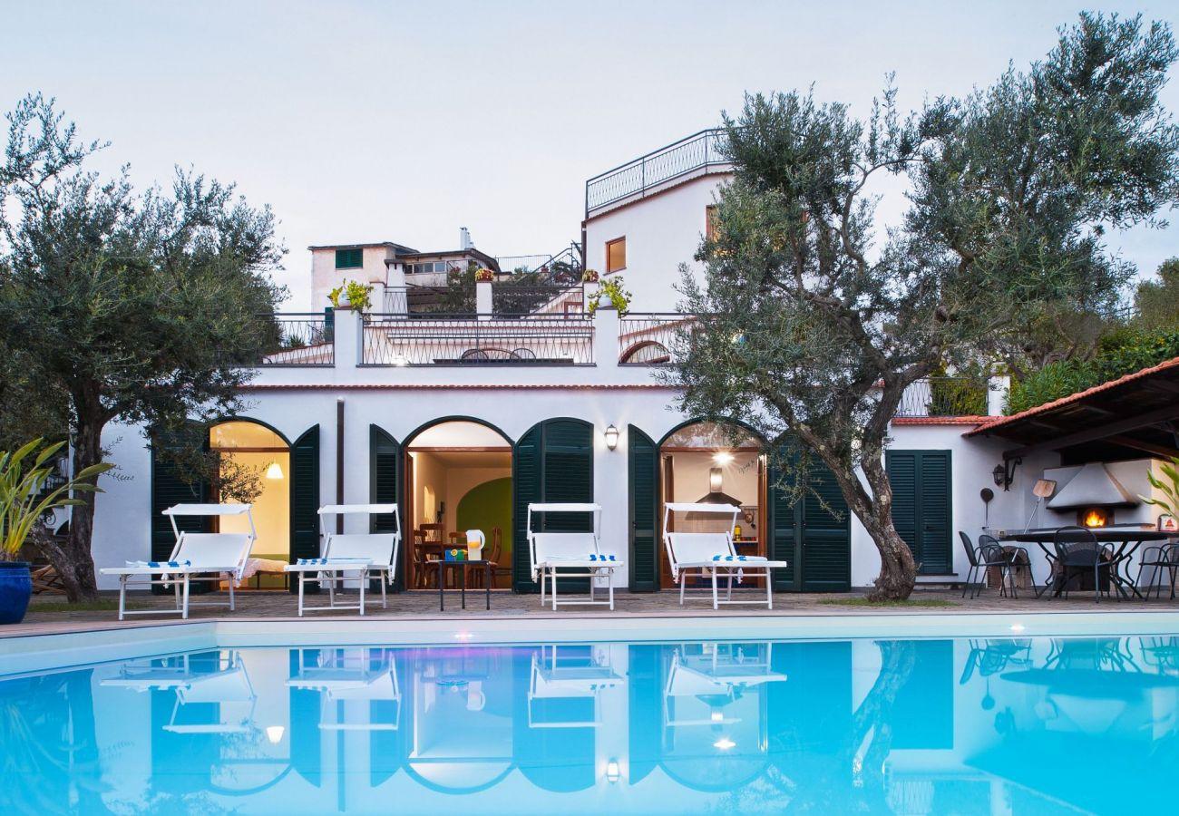 pool and villa in the evening, villa chez piè, vacation villa massa lubrense, italy