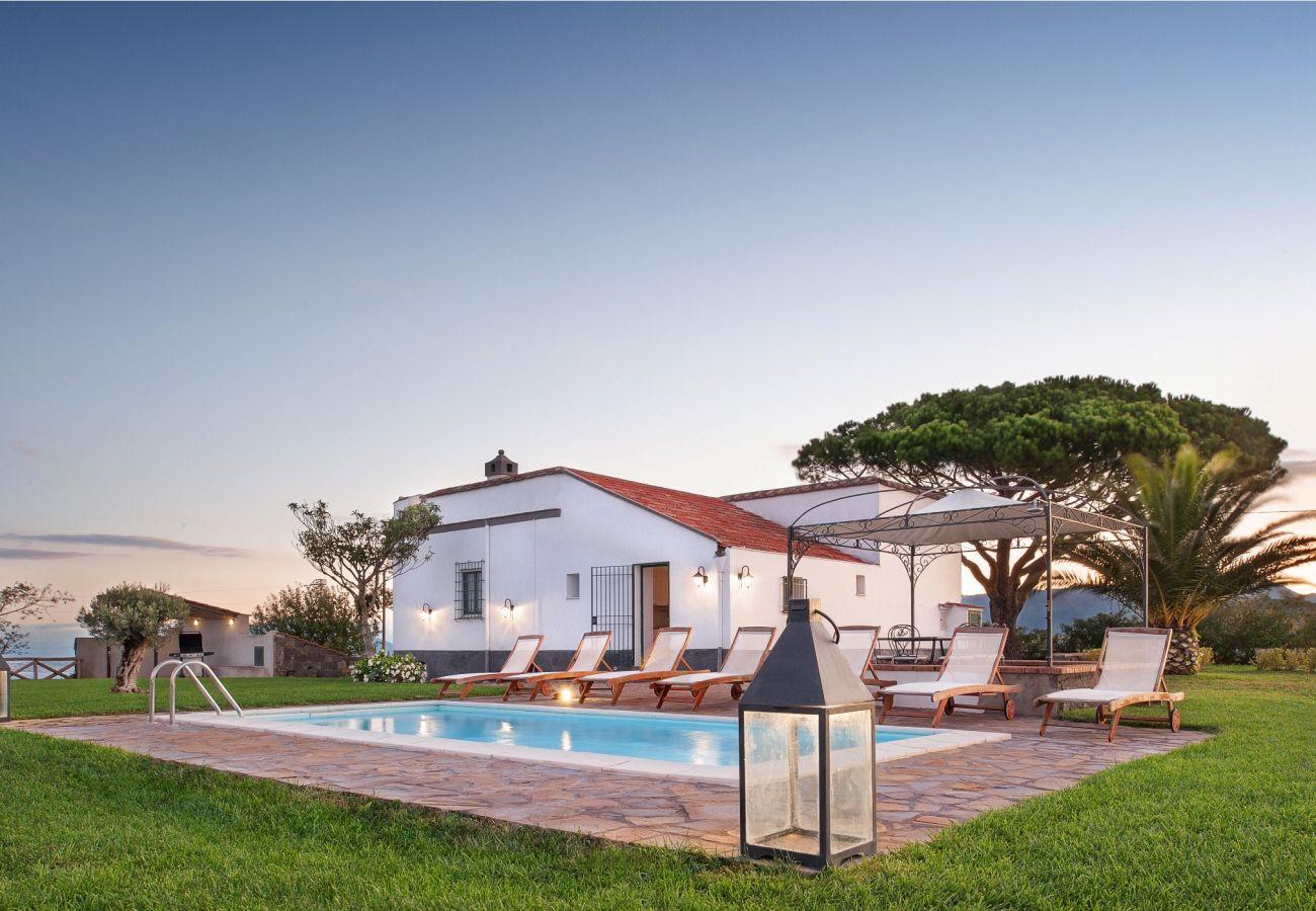 pool, garden and casa del capitano at the sunset, vacation villa massa lubrense, italy