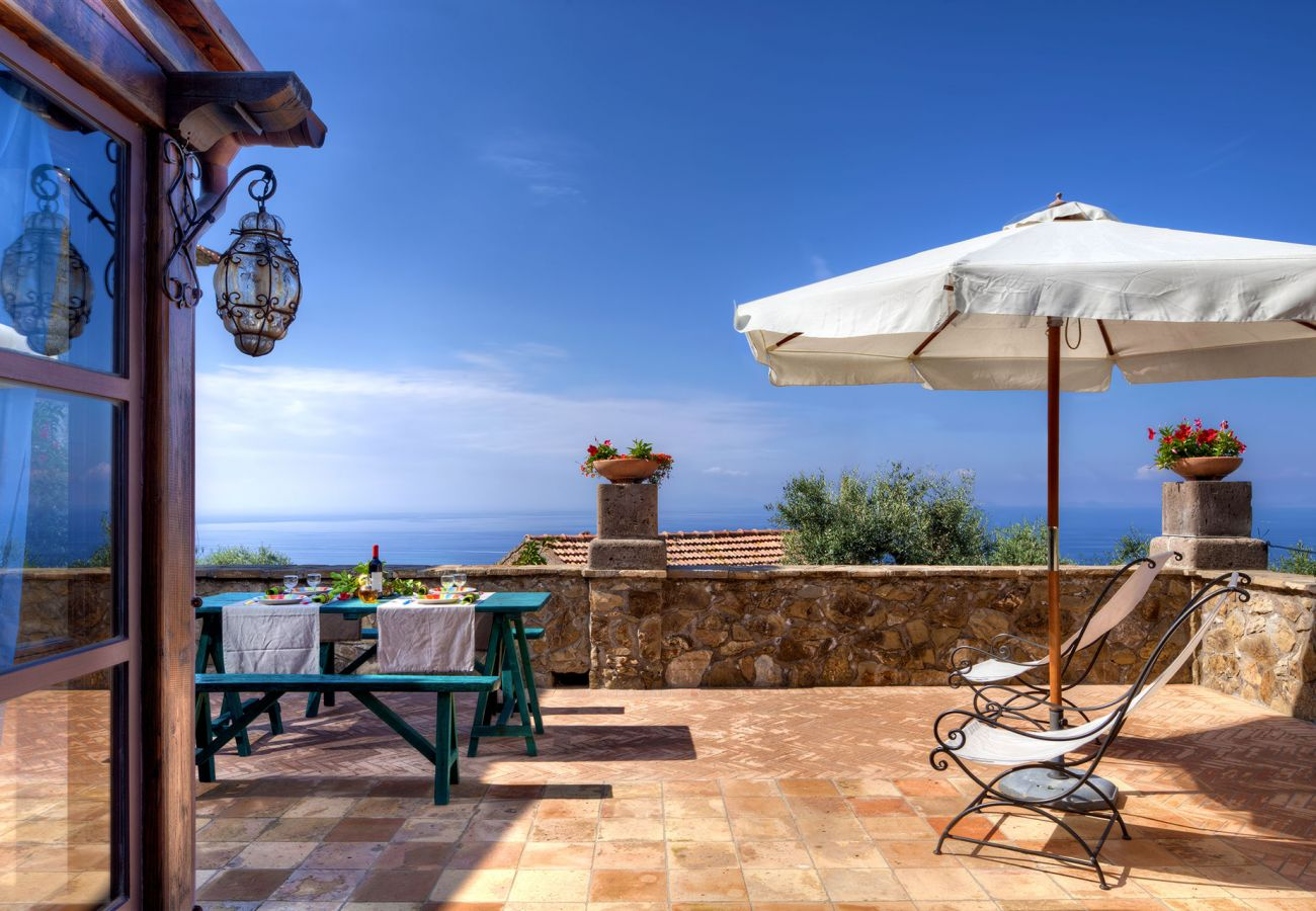 furnished terrace primula apartment, casale la torre, holiday residence near sorrento, massa lubrense, italy