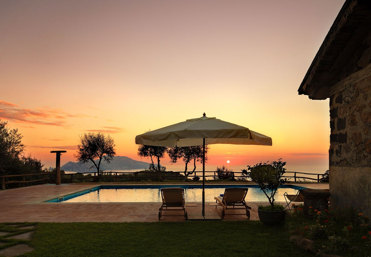 stunning sunset, pool, casale la torre, holiday apartments near sorrento, massa lubrense, italy
