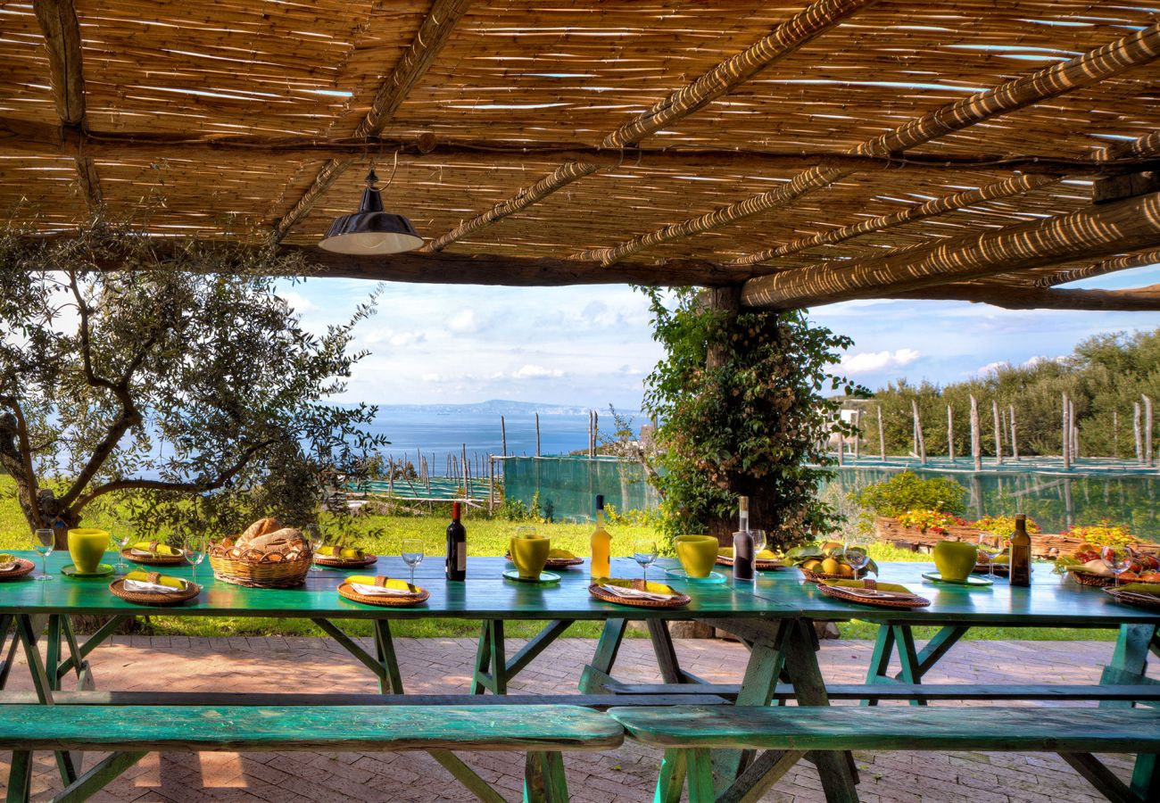 picnic table and chairs, casale la torre, holiday apartments near sorrento, massa lubrense, italy