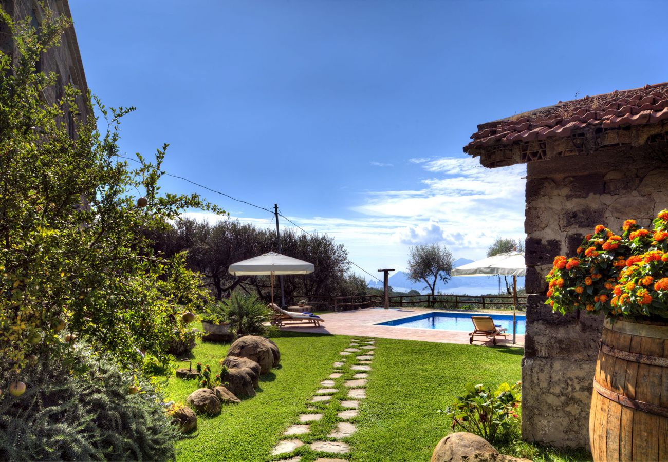 garden and pool, casale la torre, holiday apartments near sorrento, massa lubrense, italy