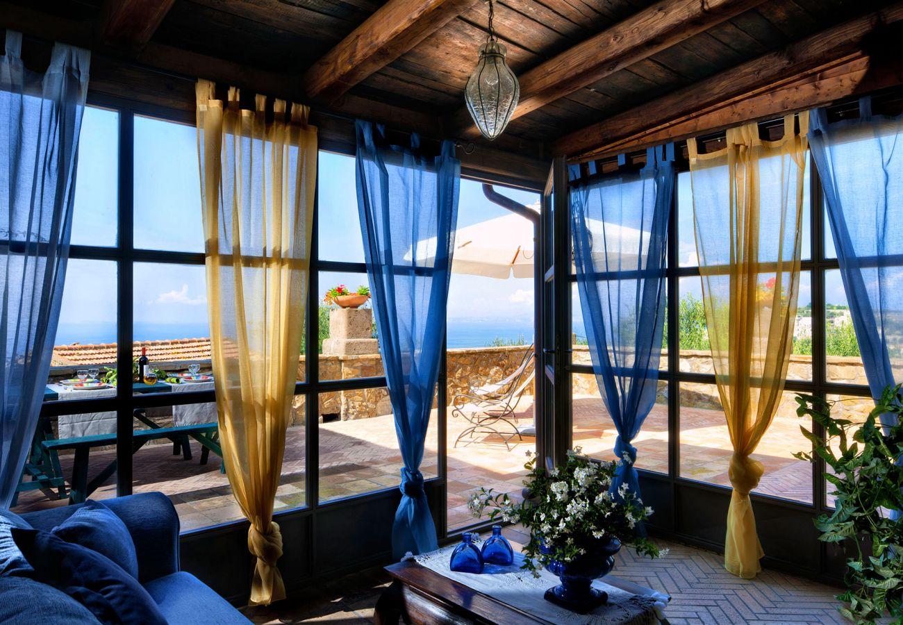 bright living room primula apartment, casale la torre, massa lubrense, italy