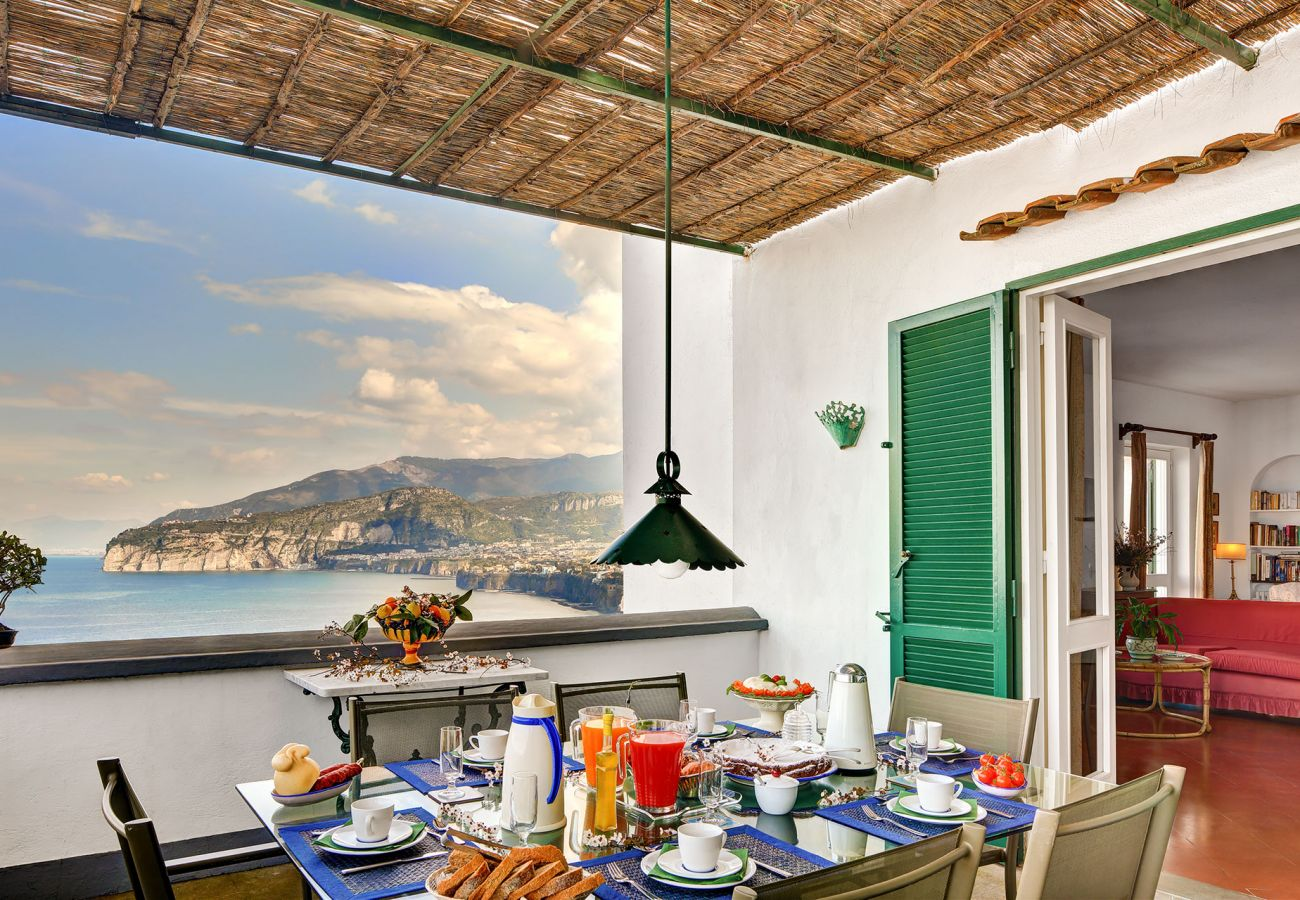 sorrentine villa terrace with stunning view of sorrento coast
