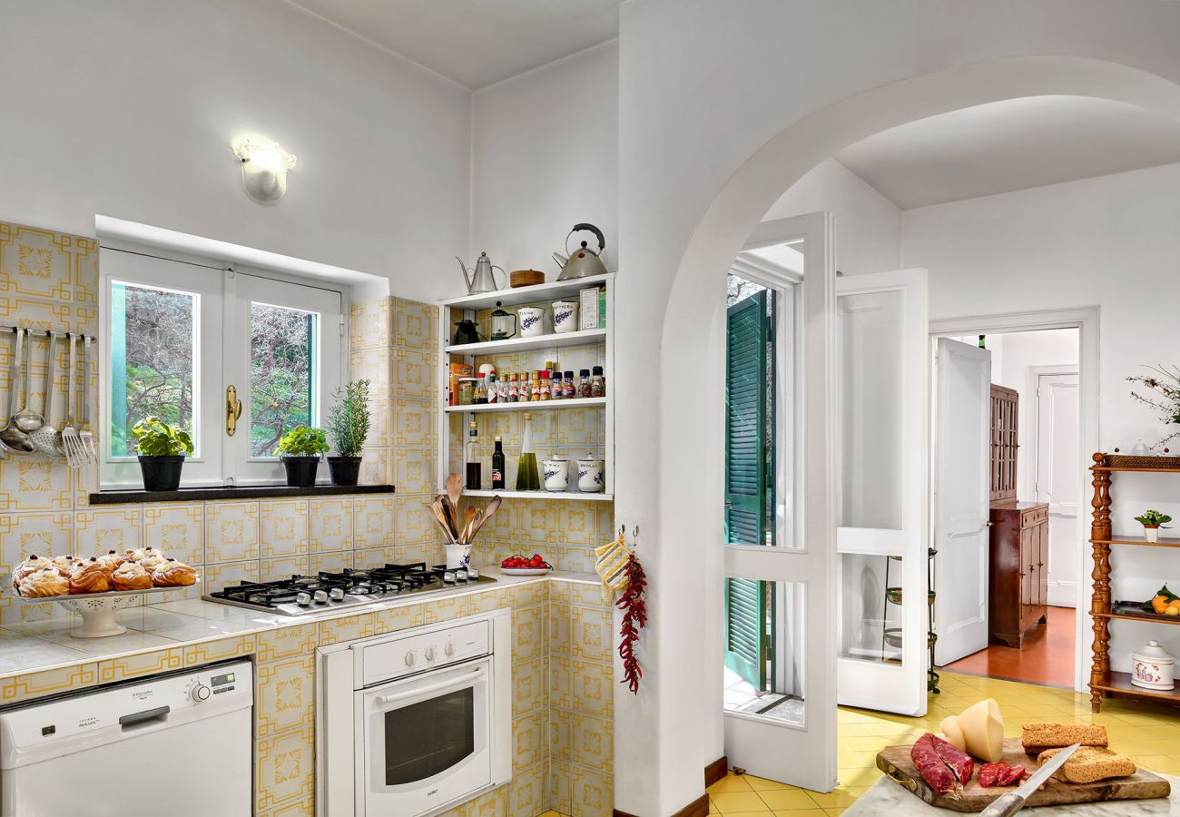 wide kitchen with patio access, villa il gioiello, sorrento, italy
