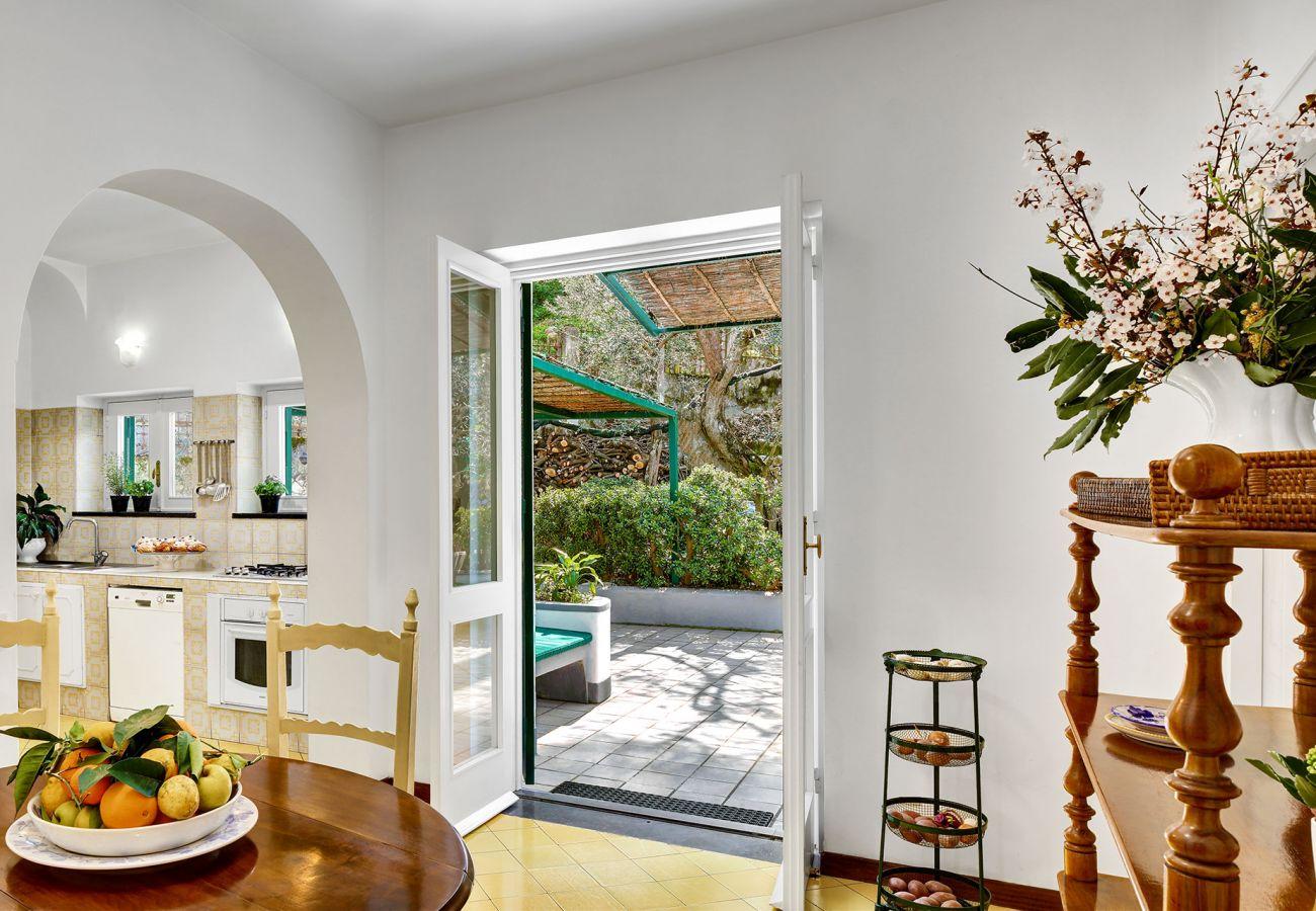 kitchen and garden access, villa il gioiello, sorrento, italy