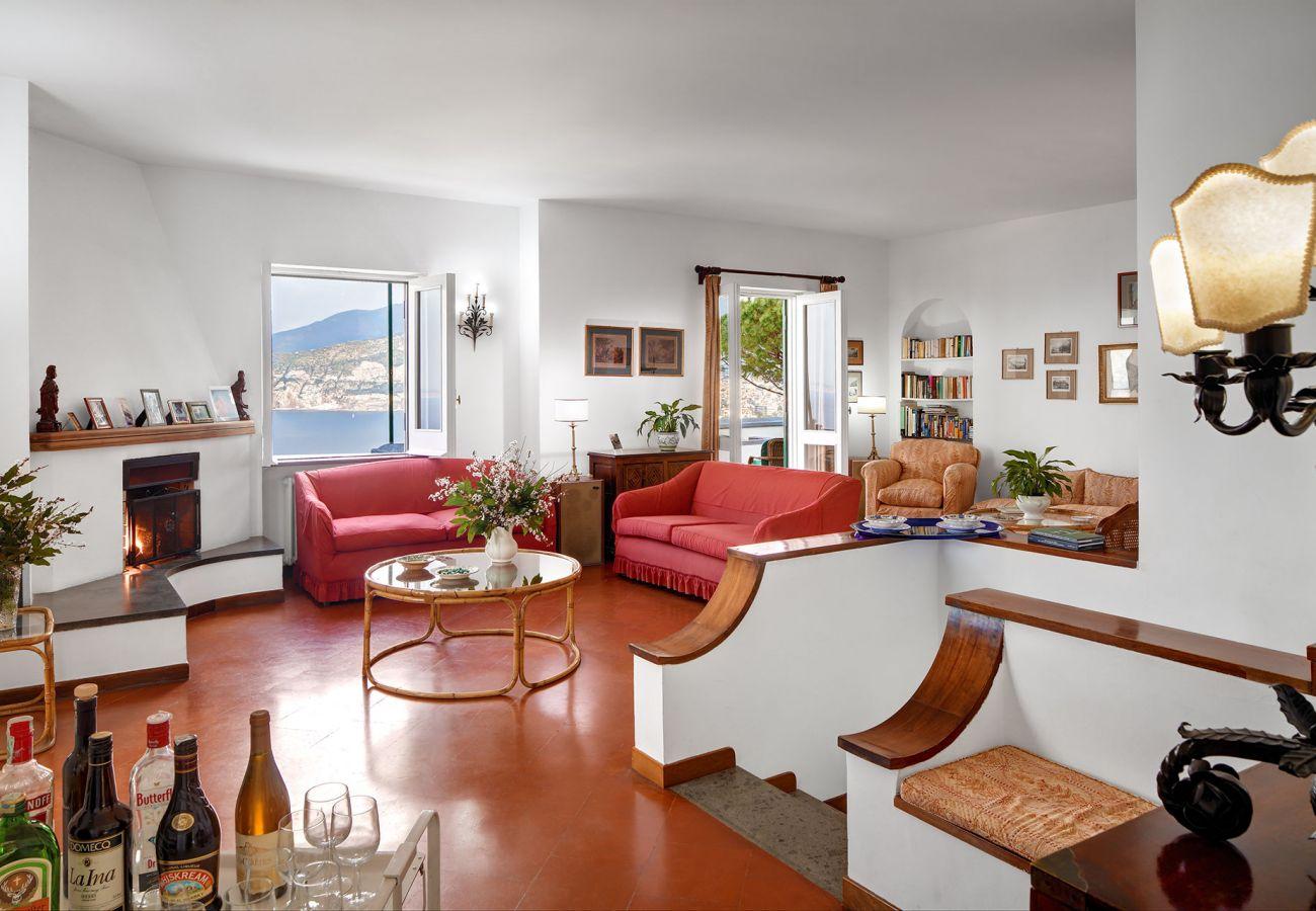 wide living room with panoramic view sorrento coast, villa il gioiello, sorrento, italy