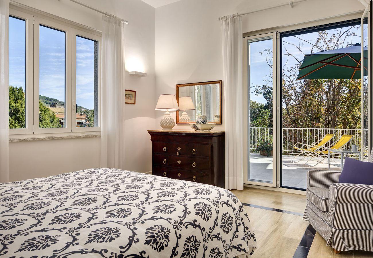 panoramic double bedroom with terrace, vacation villa la casa bianca, massa lubrense, italy