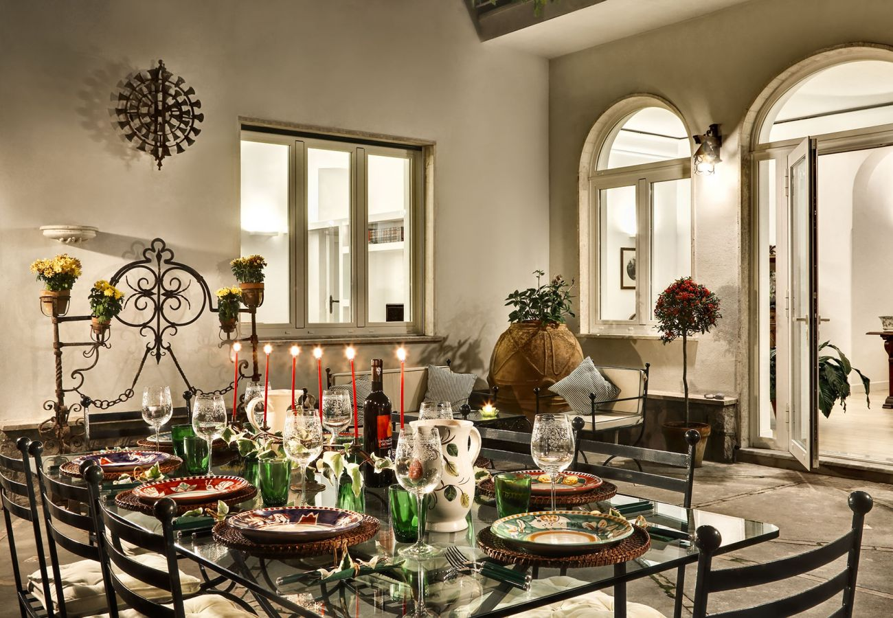 dinner on outer patio, vacation villa la casa bianca, massa lubrense, italy