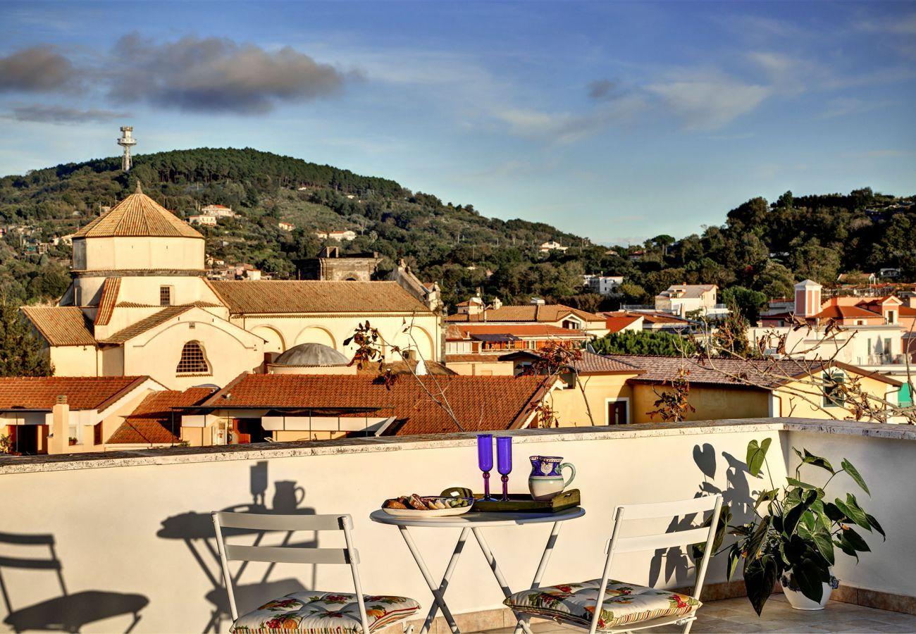 panoramic view on sant'agata sui due golfi church, vacation villa la casa bianca, italy