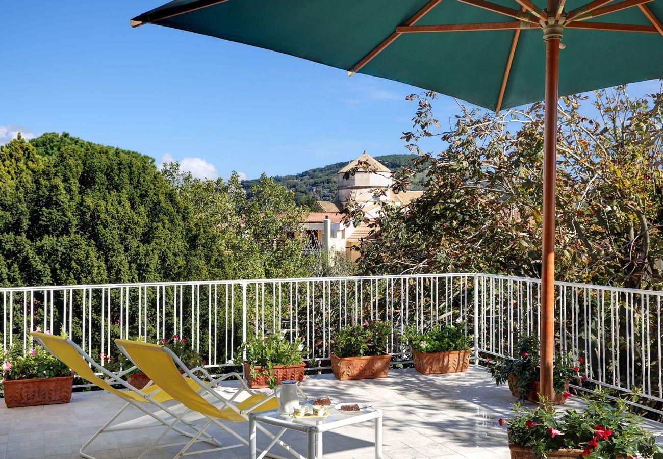 panoramic terrace, vacation villa la casa bianca, massa lubrense, italy