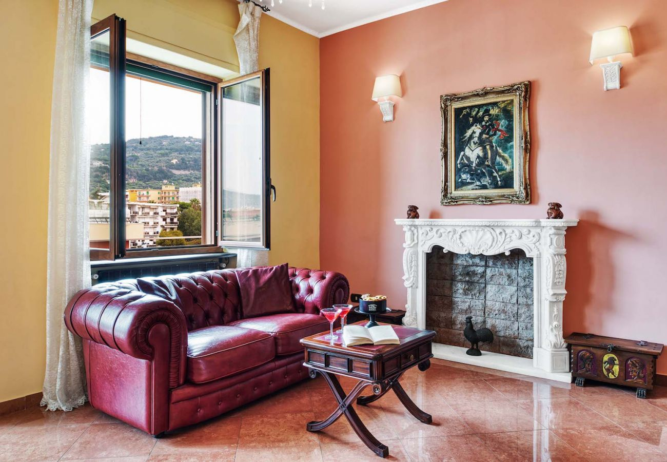 living room, classic style, peach color, la musica holiday apartment sorrento