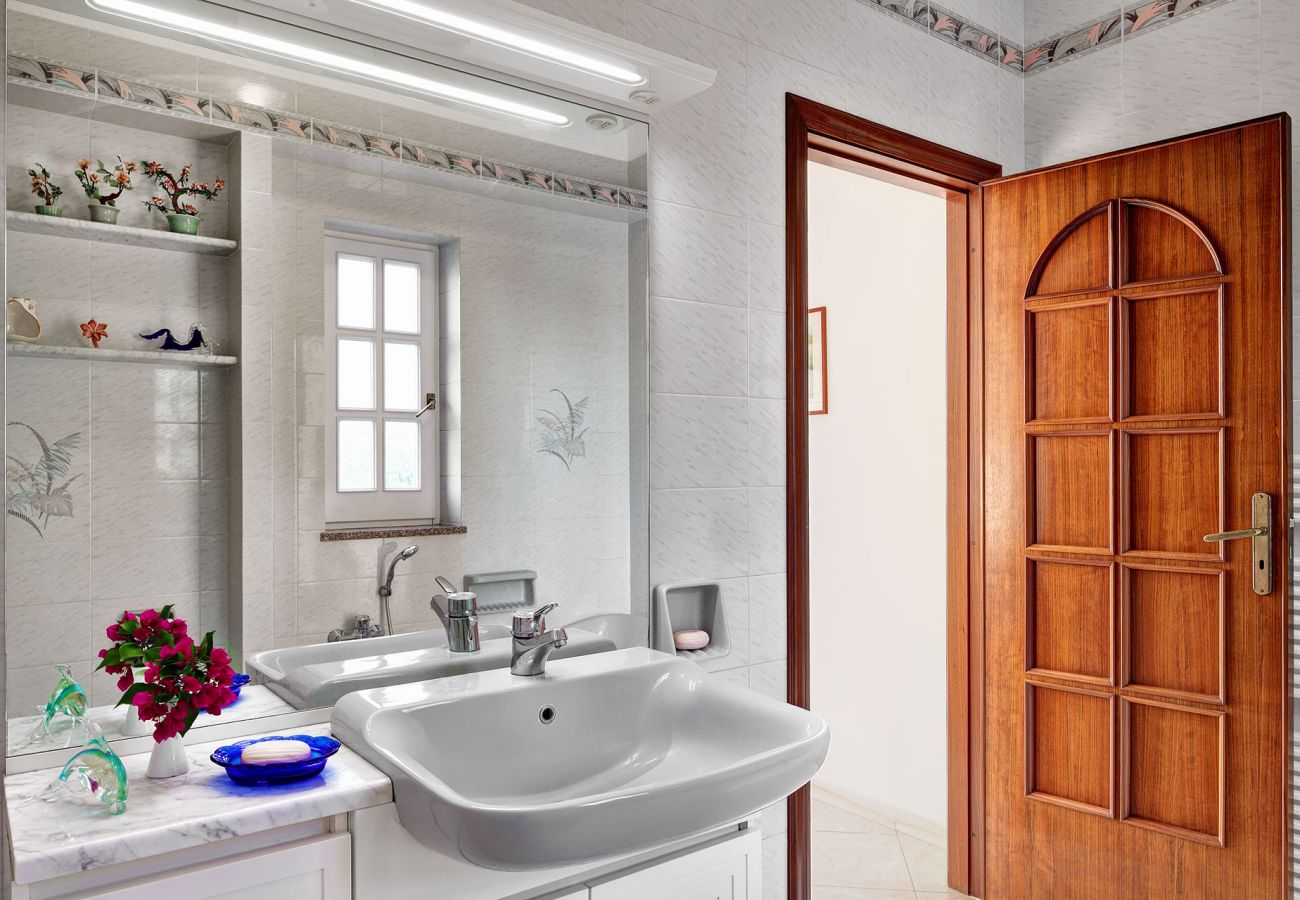 bathroom with shower, vacation villa mamma mia, nerano, massa lubrense, italy