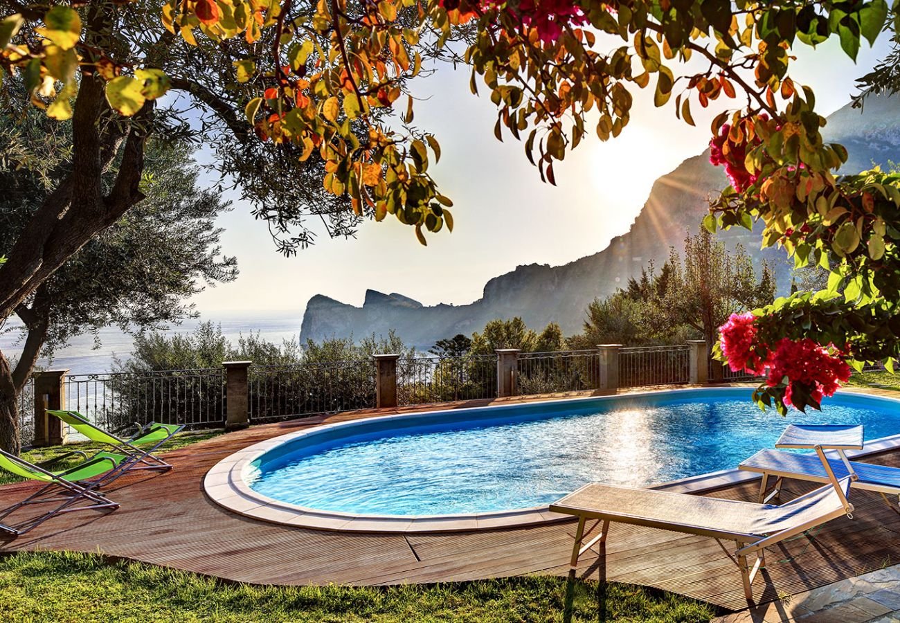 pool with panoramic view tre pizzi, sorrento coastline, sea, vacation villa mamma mia, nerano, massa lubrense, italy
