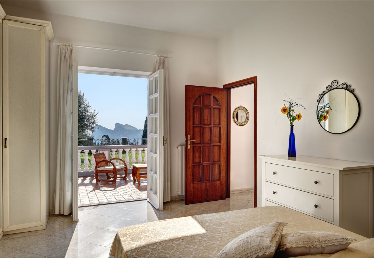 bright double bedroom terrace access & panoramic coastline view, vacation villa mamma mia, nerano, massa lubrense, italy