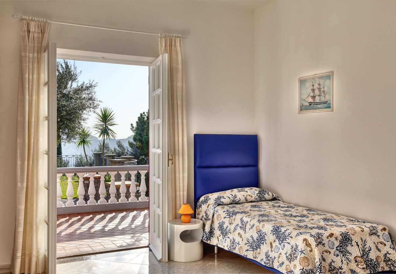 wide single bedroom with terrace, vacation villa mamma mia, nerano, massa lubrense, italy