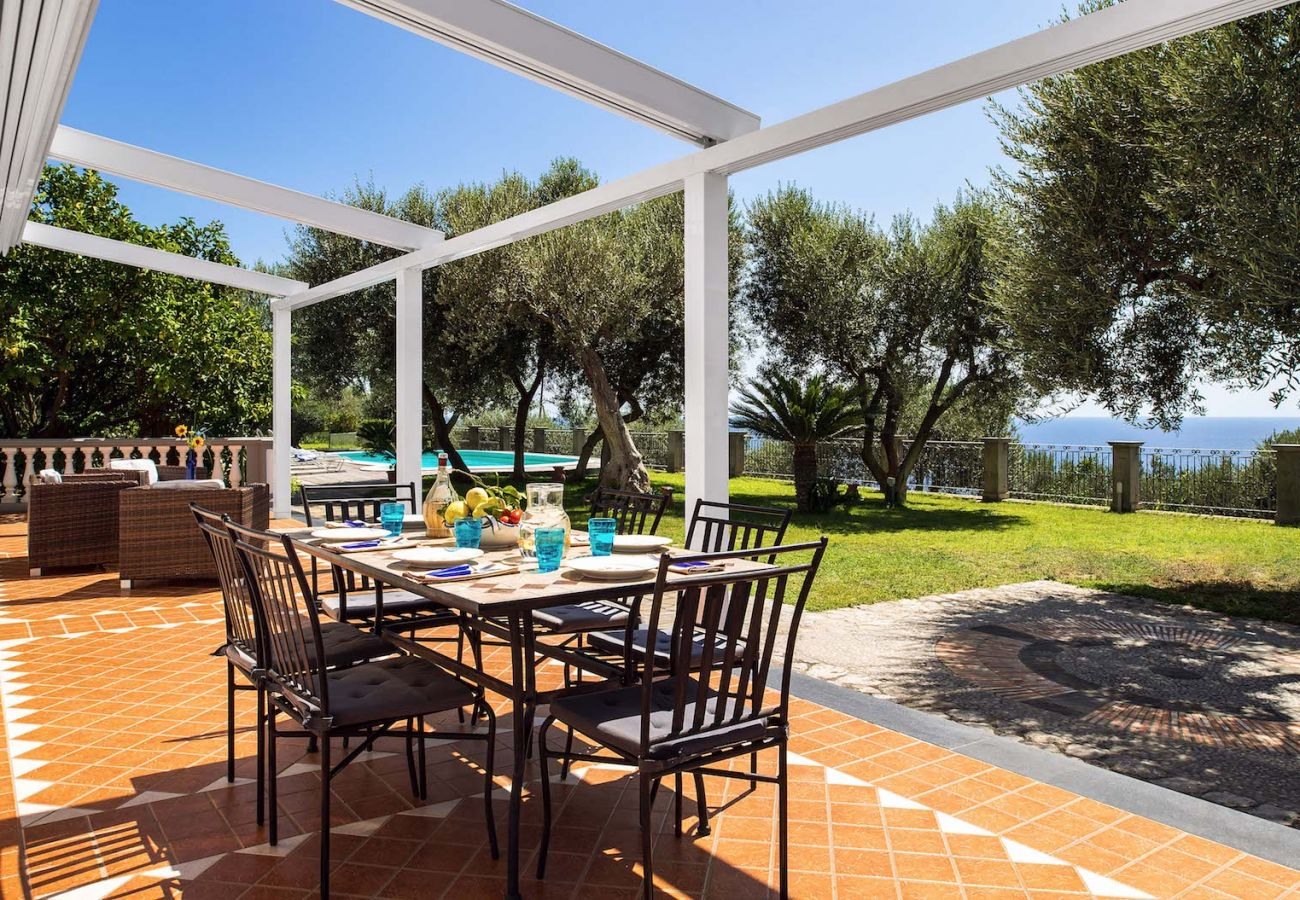 external patio villa mamma mia, with garden and views on capri island and sea