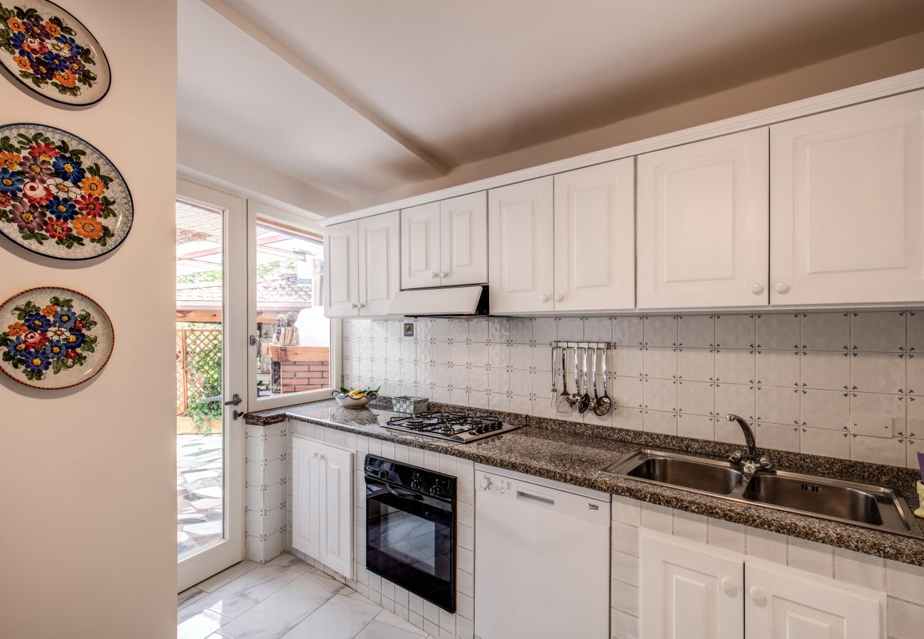 wide italian style kitchen relais mamma mia, massa lubrense, italy