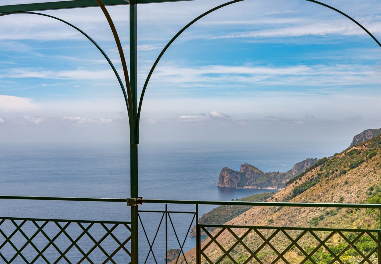 panoramic sorrento coastline view, villa alfonsina, massa lubrense, italy
