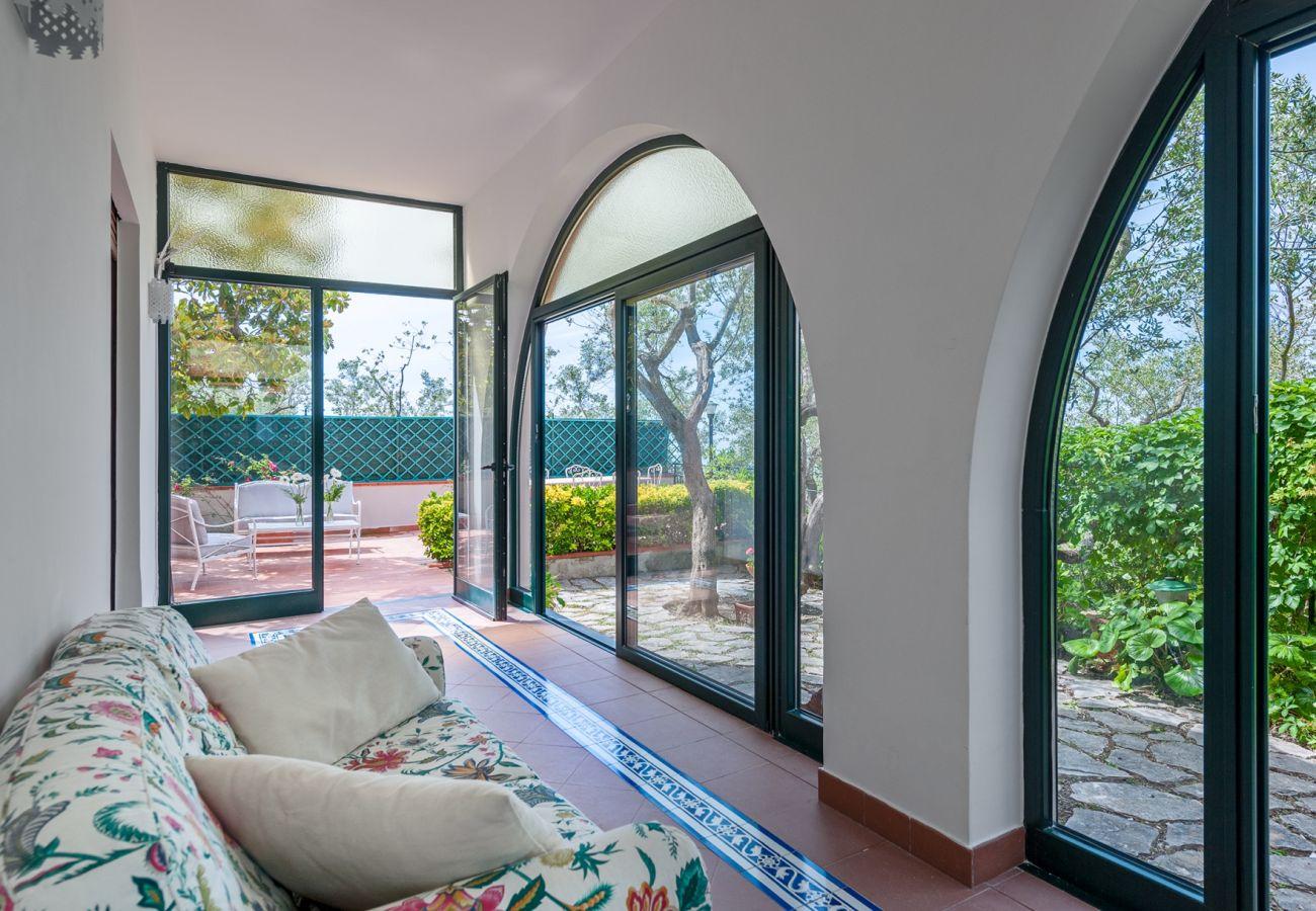 garden access patio, double sofa, villa alfonsina, massa lubrense, italy