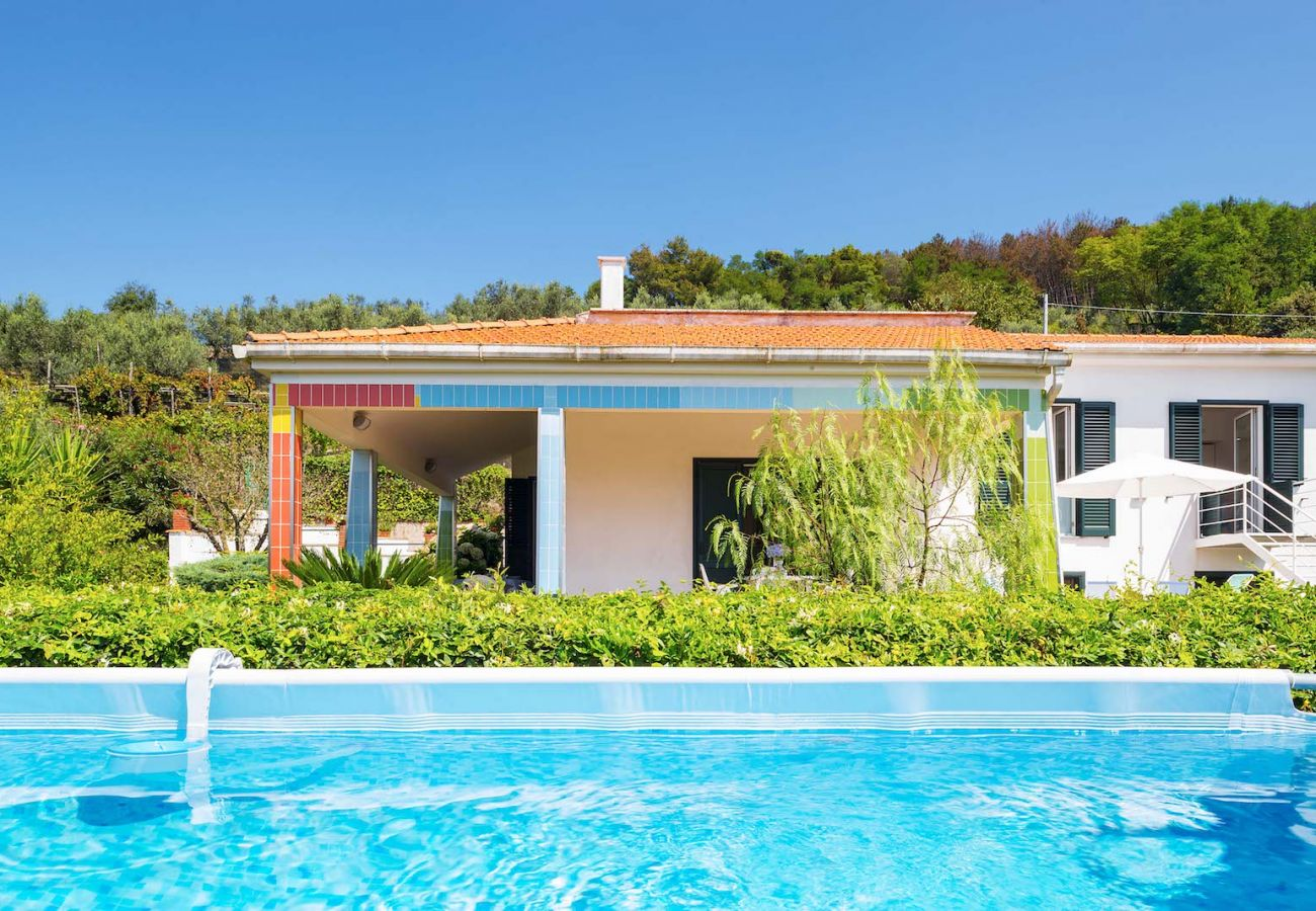 villa corinna massa lubrense italy and its private pool, sunny day
