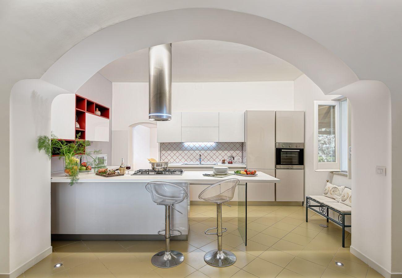 modern kitchen, vacation villa marinella, nerano, massa lubrense, italy