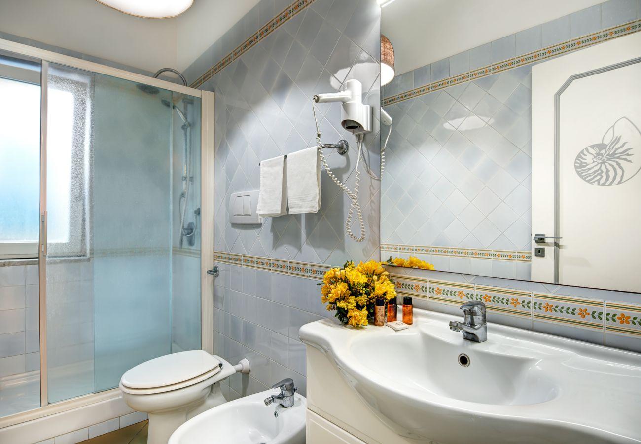 bathroom with shower cabin, vacation villa marinella, nerano, massa lubrense, italy