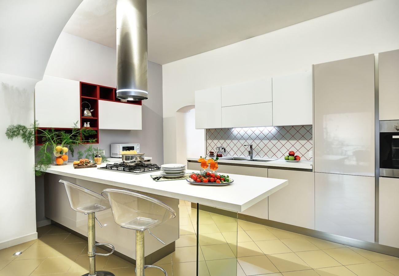 fully equipped modern kitchen, vacation villa marinella, nerano, massa lubrense, italy
