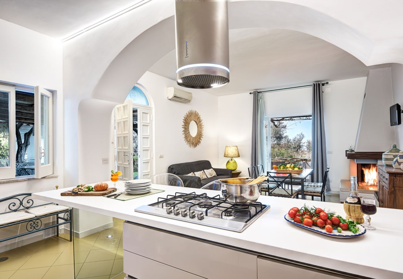 modern kitchen with garden access, vacation villa marinella, nerano, massa lubrense, italy
