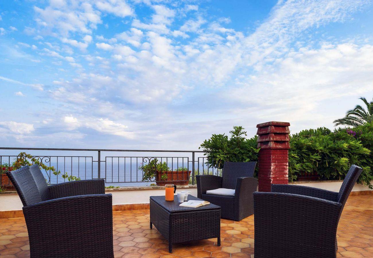 furnished terrace with sea view, villa marinella nerano italy