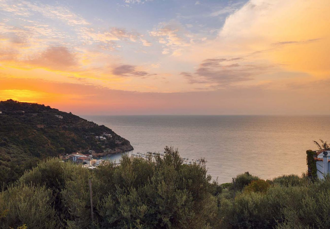 view overlooking the sea and the amalfi coast from villa marinella, nerano, italy