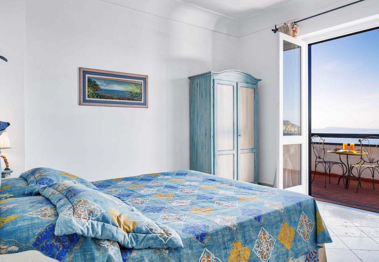 double bedroom with panoramic balcony, villa nana st agnello italy