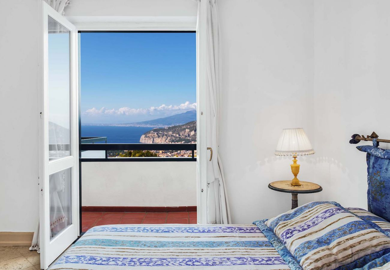 panoramic views overlooking sorrento peninsula and naples goulf, from bedroom with balcony