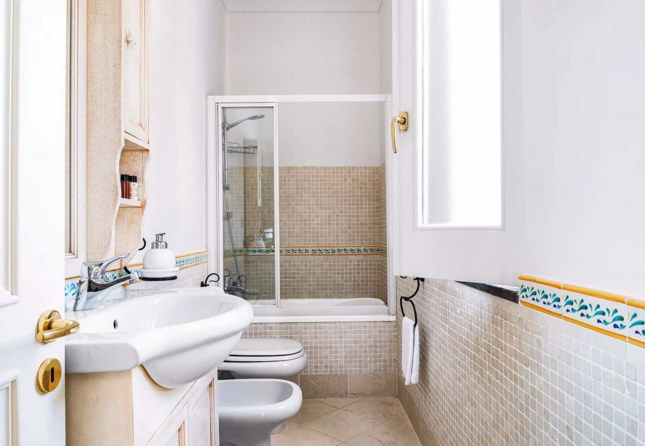 bathroom with shower villa nana st agnello, sorrento italy