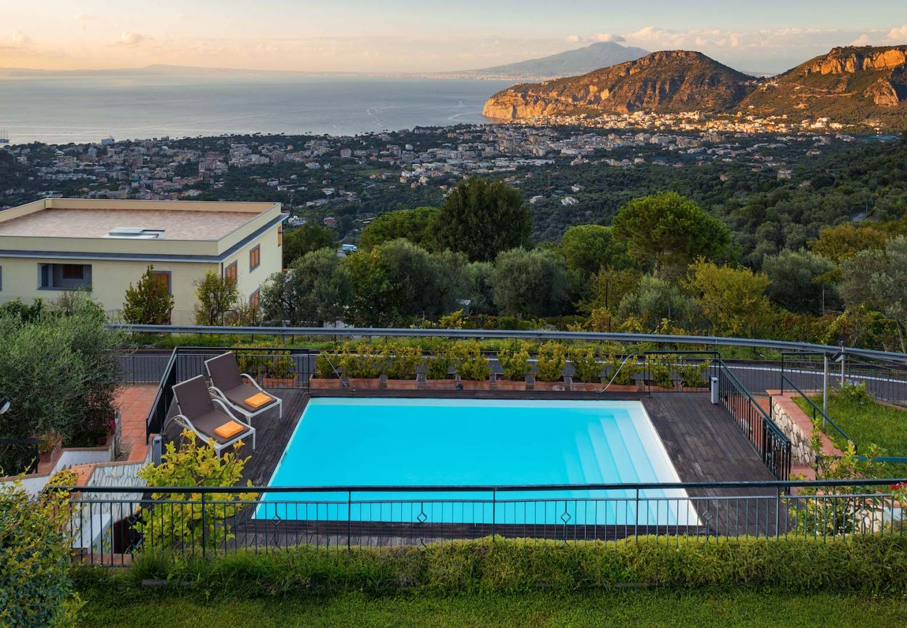 pool and stunning panoramic views overlooking sea, sorrento and naples goulf
