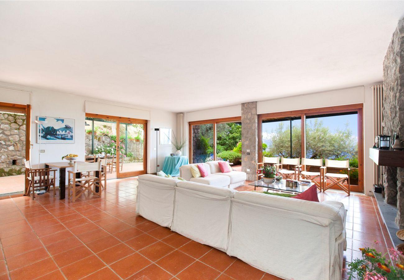 wide open space living room, holiday villa sterlizia, massa lubrense, italy