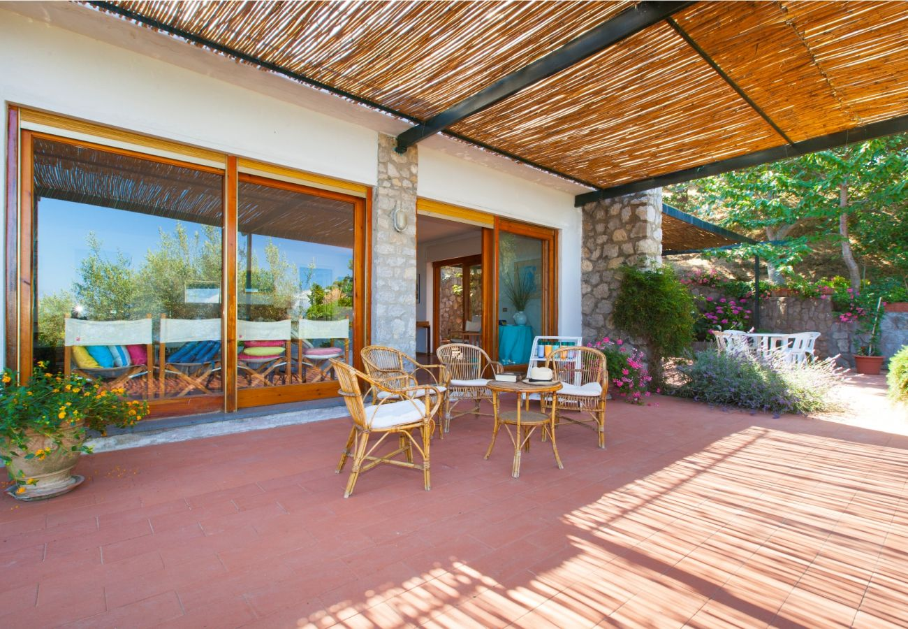 furnished terrace in the shade, holiday villa sterlizia, massa lubrense, italy