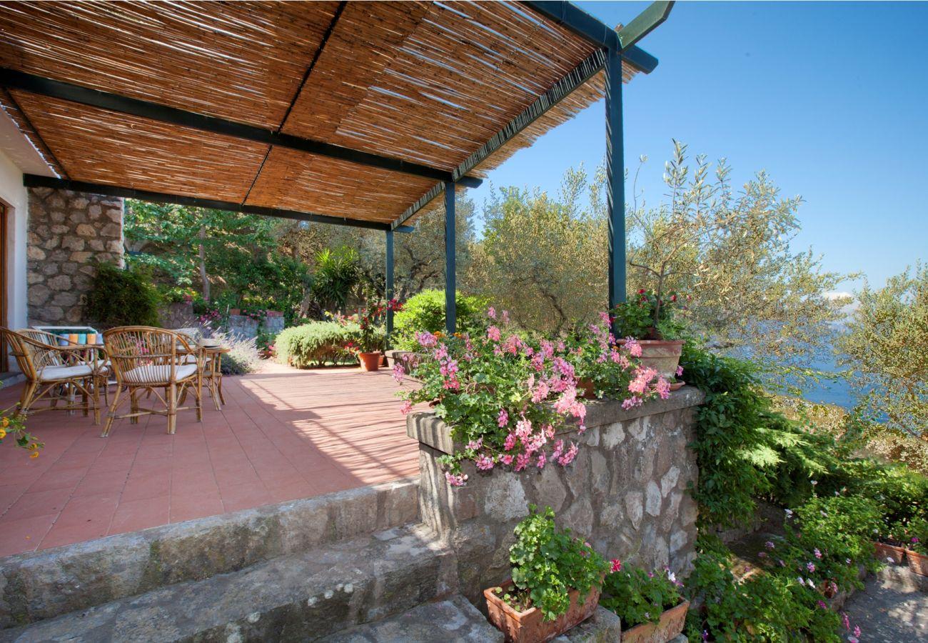 terrace in sunny day, holiday villa sterlizia, massa lubrense, italy