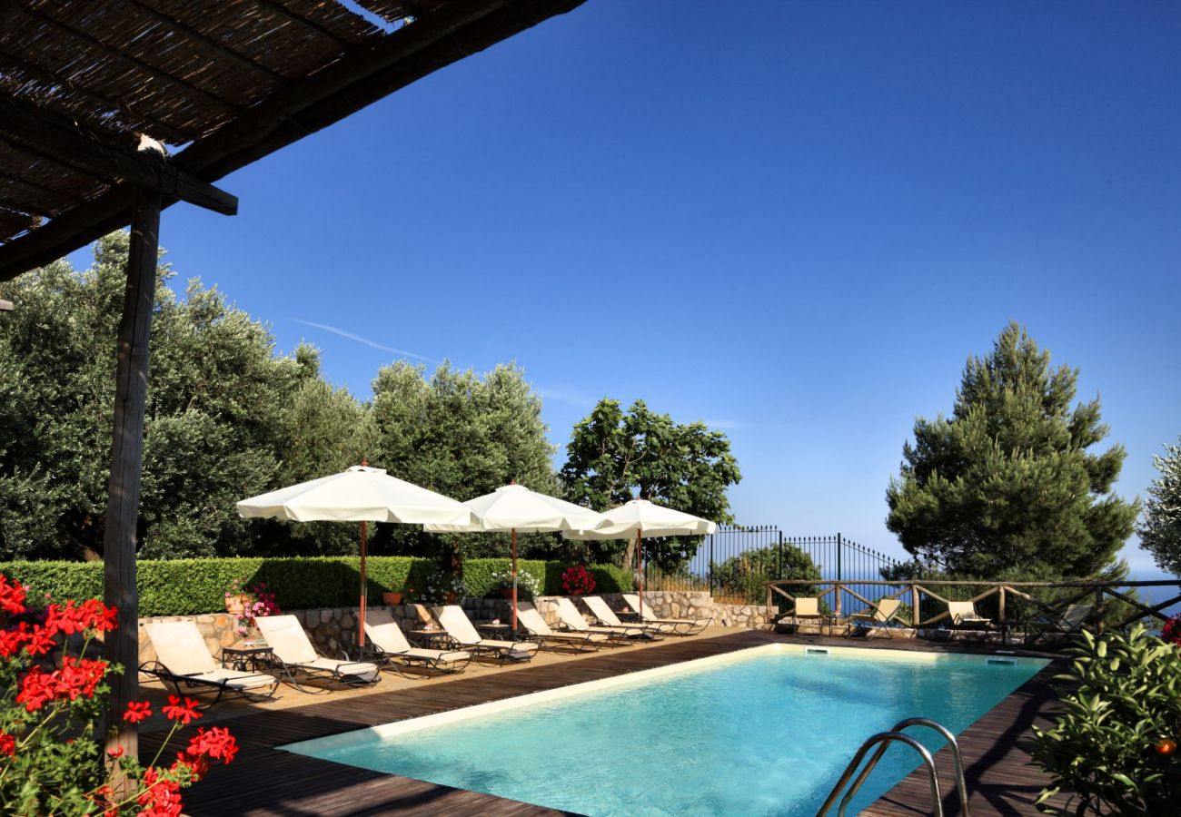 swimming pool and solarium with sun beds and sunbrellas, holiday apartment rigoletto, sant'agata sui due golfi, italy