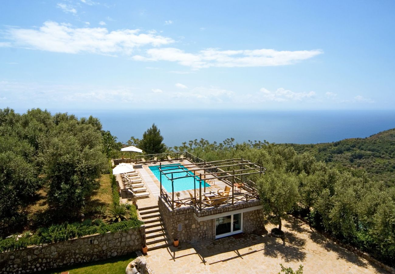 panoramic view of swimming pool, garden and sea, holiday apartment figaro, sant'agata sui due golfi, italy