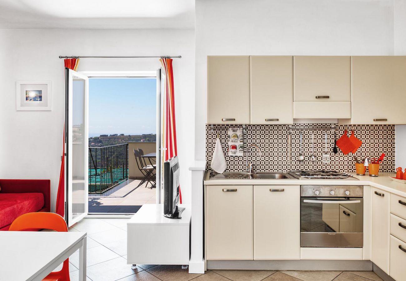 figaro holiday apartment, kitchen corner and opened panoramic balcony
