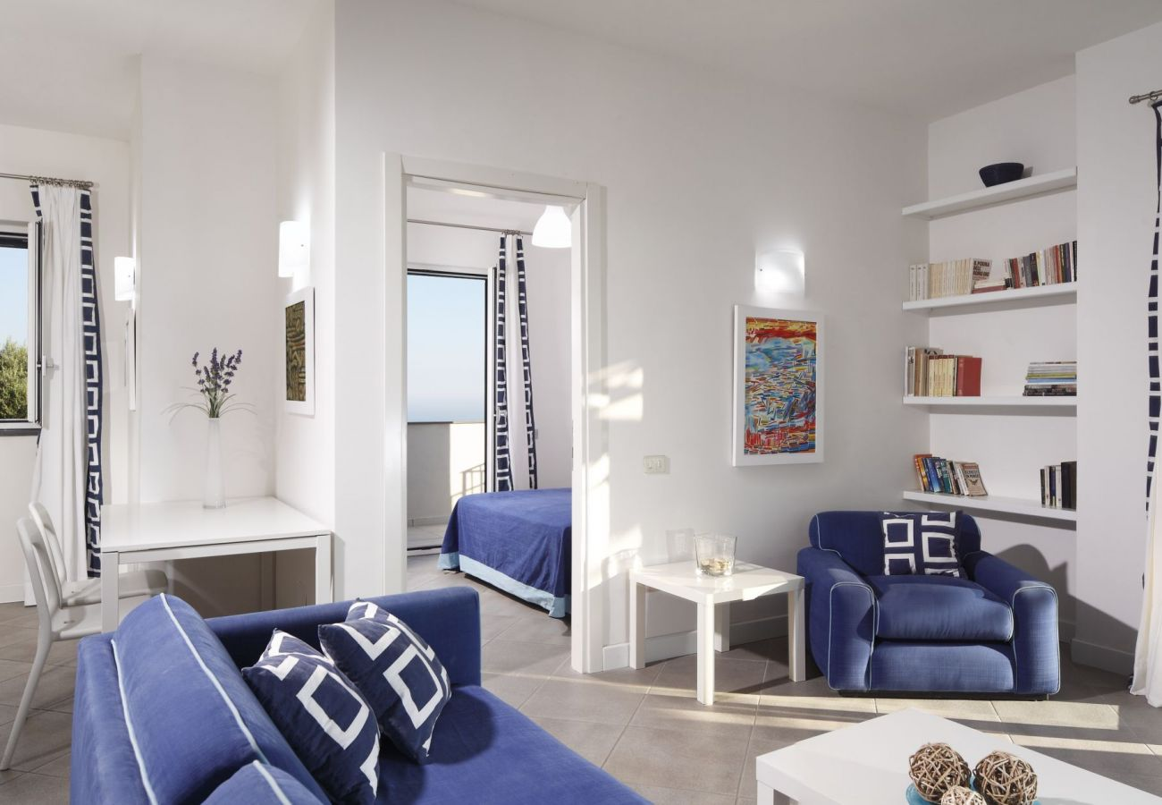 wide and bright living area, in blu, with kitchen corner and bedroom entrance