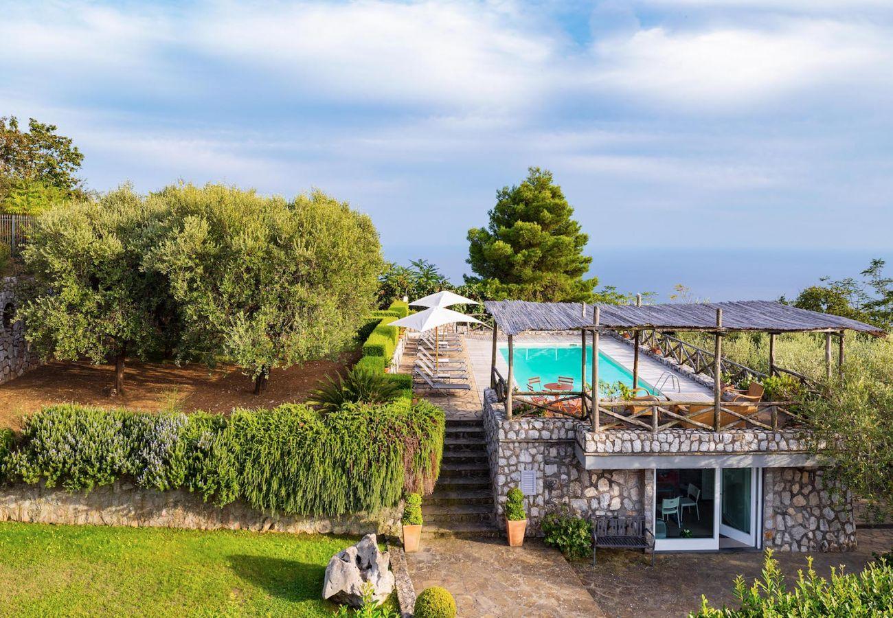 swimming pool panoramic view from aida apartment, massa lubrense, italy