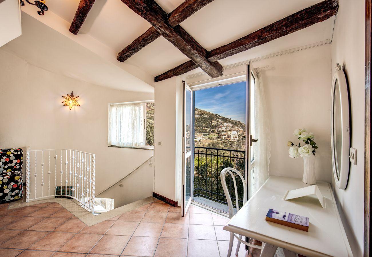 second floor with panoramic balcony, vacation villa torca, amalfi coast, italy